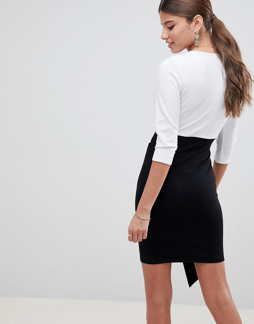 84e9b8ec4a2f ASOS Mono Colour Block Wrap Mini Dress - Lyst