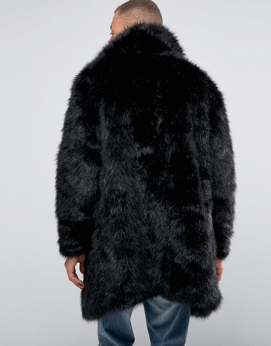 358e2d58e1406 Lyst - The New County Faux Fur Coat in Black for Men