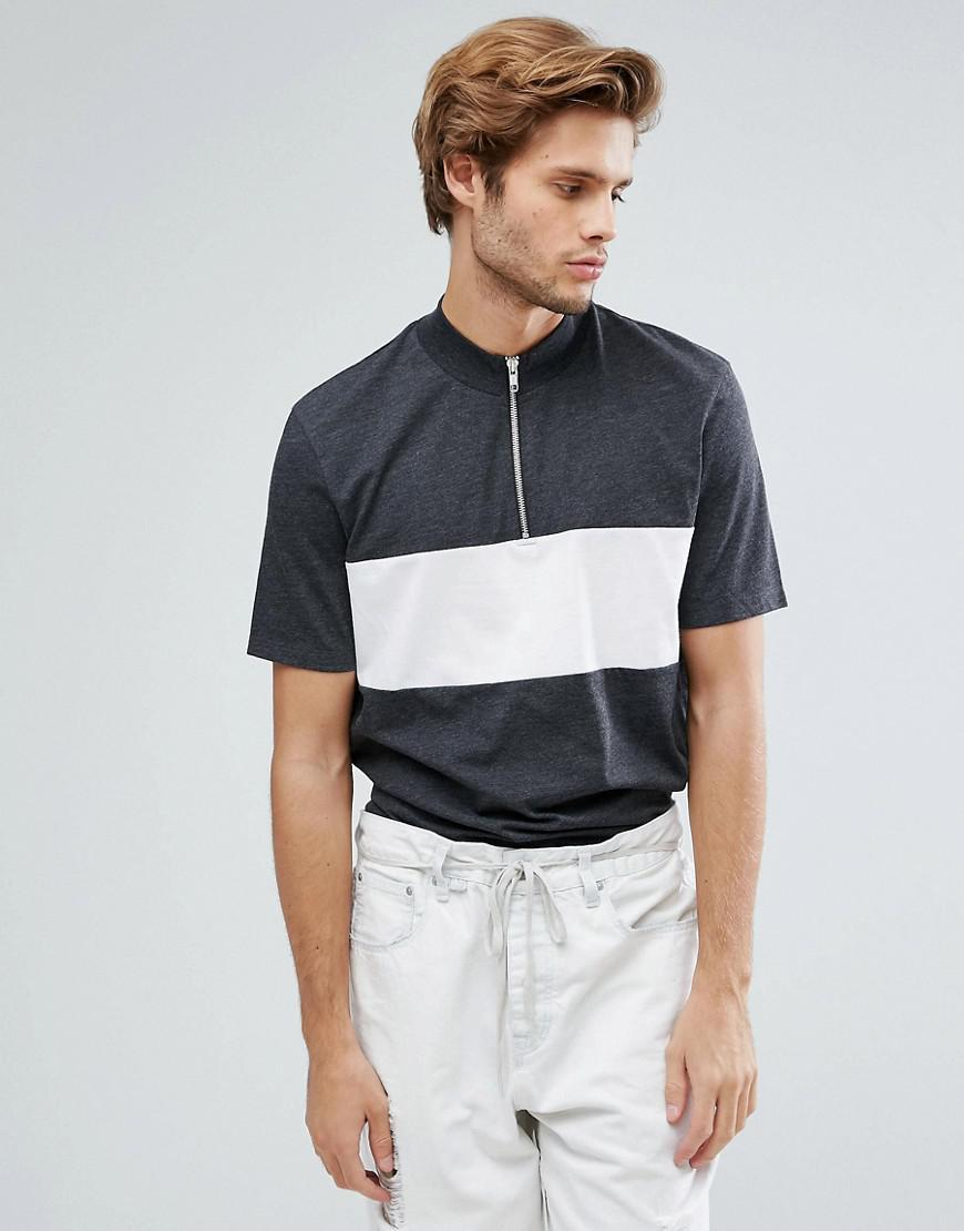ASOS. Men's Blue Relaxed Skater T-shirt With Zip Turtle Neck And Cut & Sew  Panels