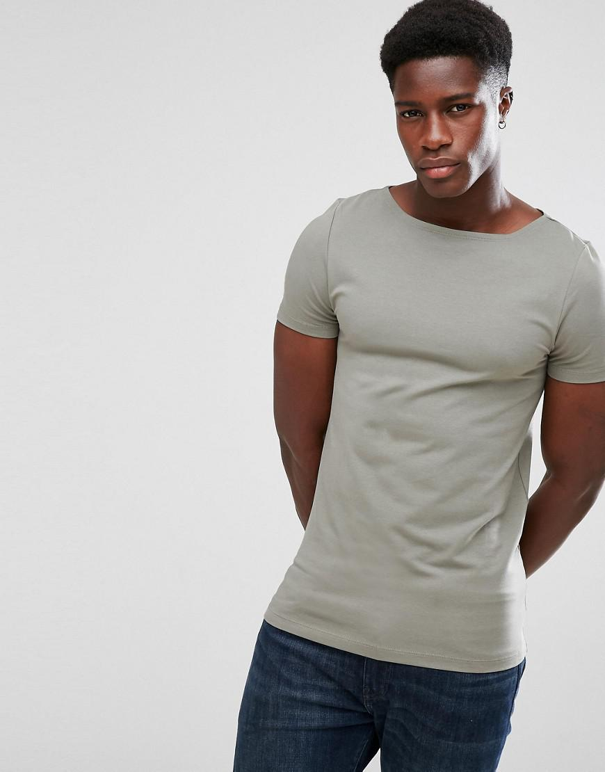 Asos Muscle Fit T Shirt With Boat Neck And Stretch In