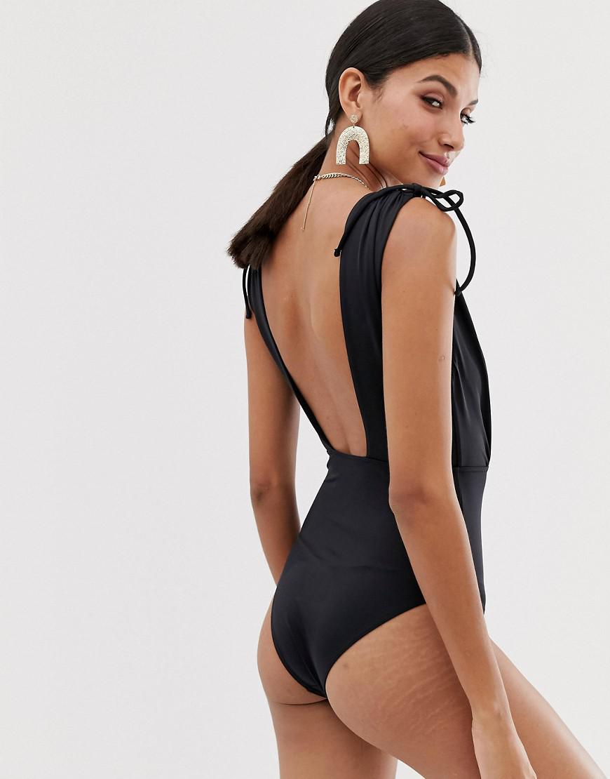 fe545c3159e3e Lyst - ASOS Asos Design Tall Recycled Ruched Shoulder Plunge Swimsuit In  Black in Black