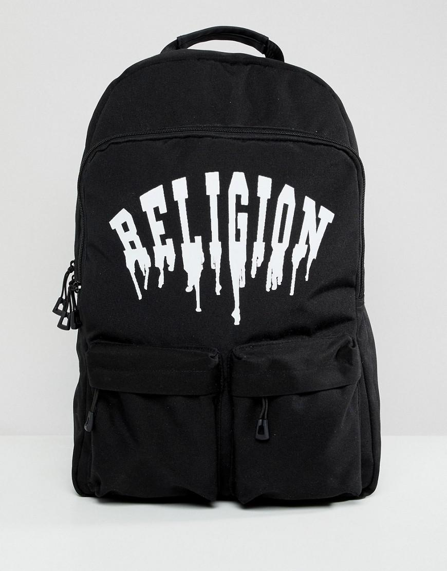 Lyst - Religion Backpack With Pockets And Dripping Print in Black ... e302d5b1e2be6