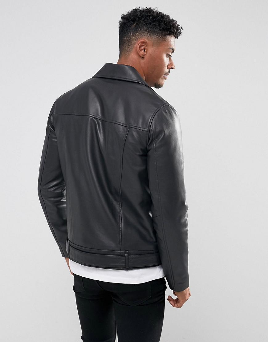 Lyst - Veste de motard en cuir avec ceinture ASOS pour homme en coloris Noir 86646ac4ec3