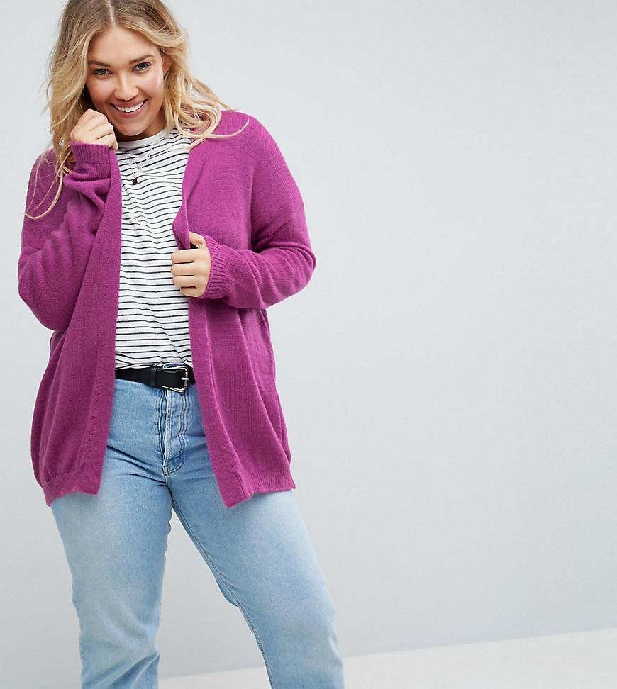 4001b86c804 ASOS Cardigan In Fine Knit Fluffy Yarn in Purple - Lyst