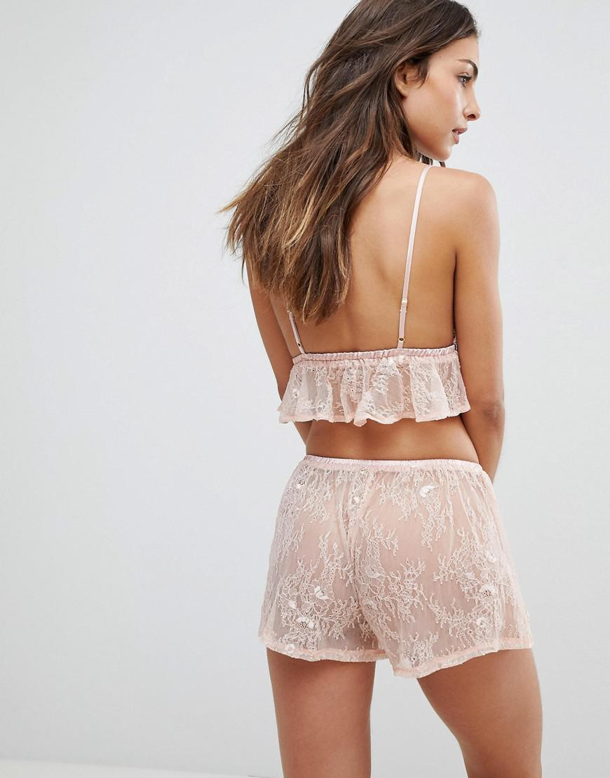 de5077150b Lyst - Wolf   Whistle Pink Lace Cami And Short Pyjama Set in Pink