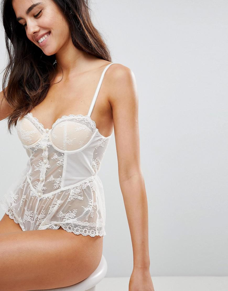 PREMIUM BRIDAL Pearl & Lace bodysuit - Ivory Asos Buy Cheap From China G1PWWw3e4