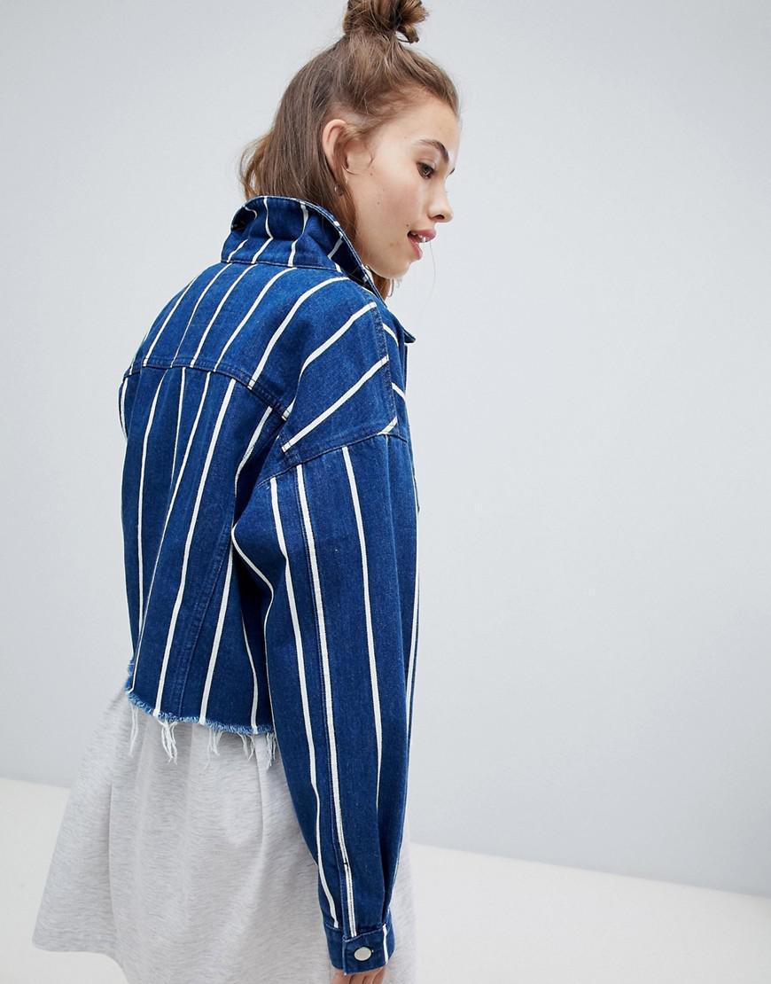 3c72efa73c82d Pull Bear Stripe Denim Jacket in Blue - Lyst