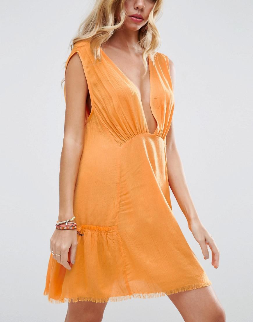 Lyst Asos Beach Dress With Raw Edge Detail In Orange