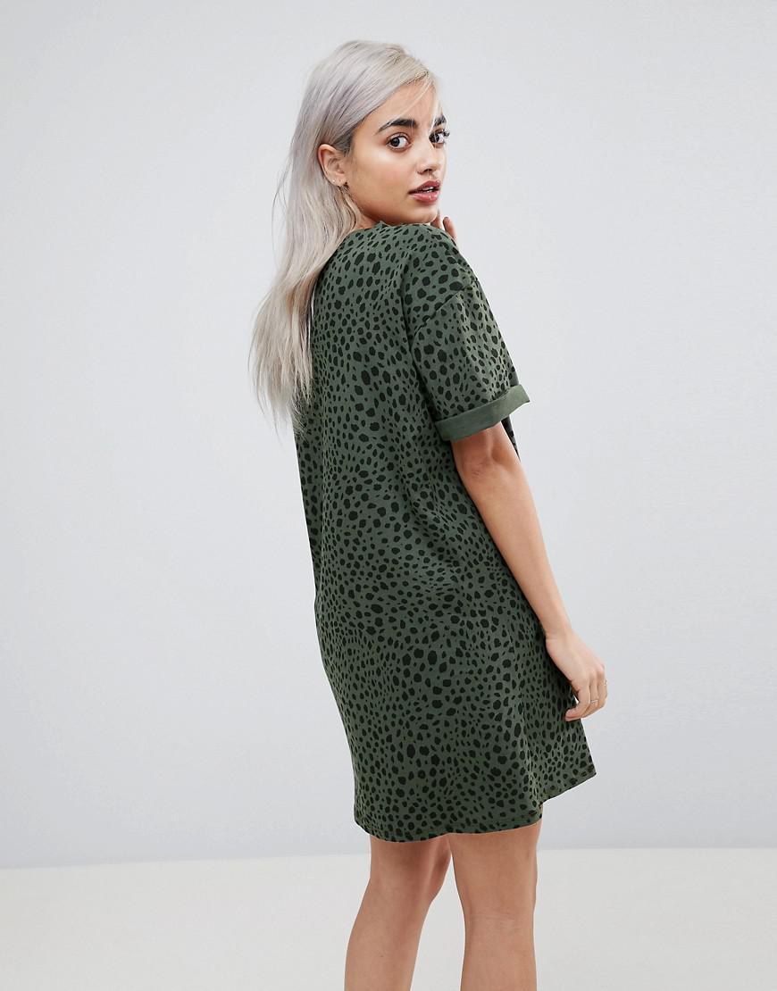 54c89824271e Lyst - ASOS Asos Design Petite Ultimate T-shirt Dress In Leopard ...