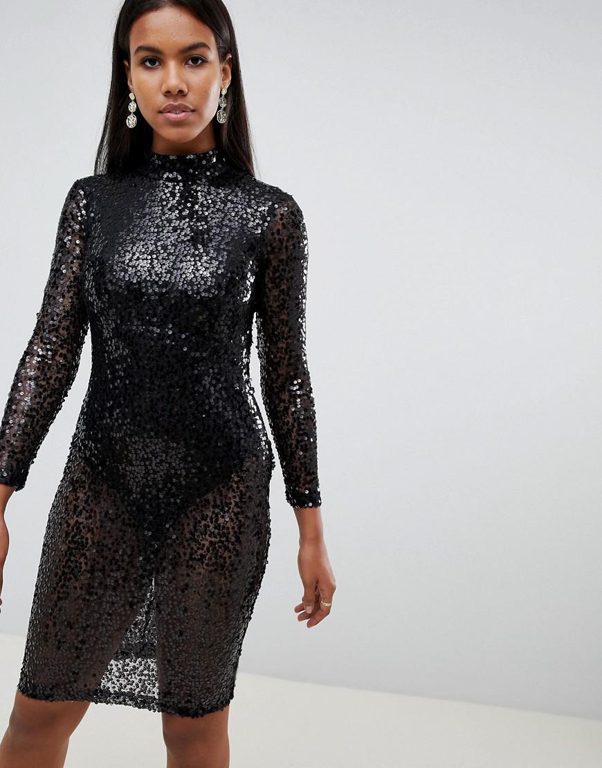 2a7ca9151a643 Lyst - Ax Paris Sequin Bodycon Dress in Black