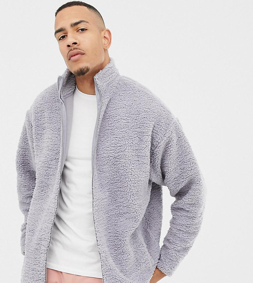 9889afa4d5 Lyst - ASOS Tall Oversized Track Jacket In Grey Borg in Gray for Men