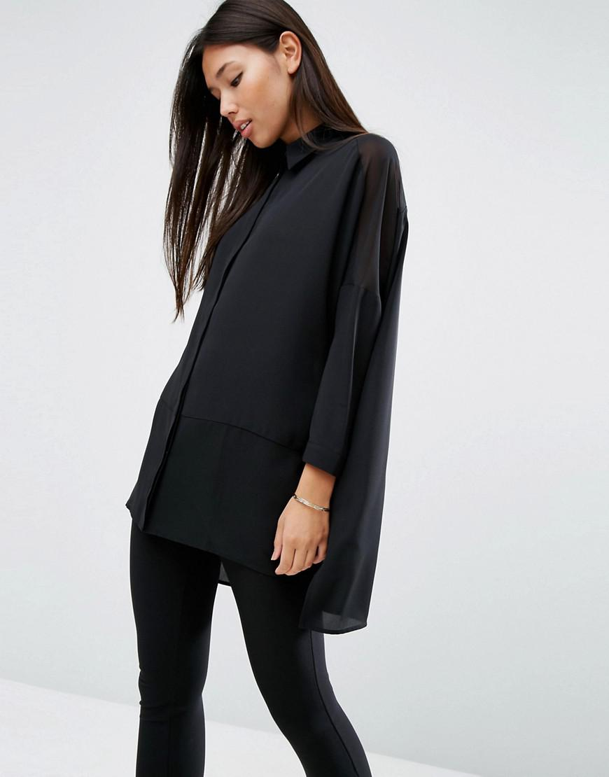 f16fd68f533 ASOS Oversized Blouse With Sheer Inserts in Black - Lyst