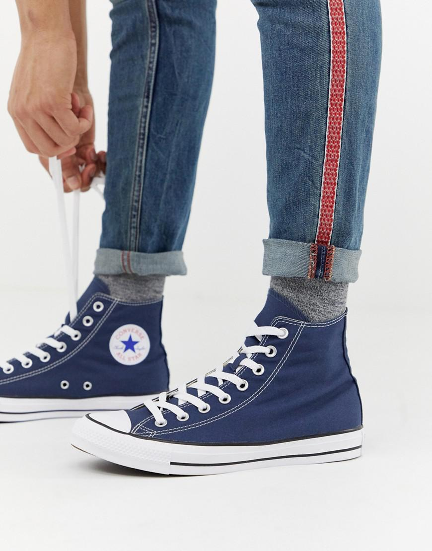 c0938d121542dd Lyst - Converse Chuck Taylor All Star Hi Plimsolls In Navy M9622c in Blue  for Men