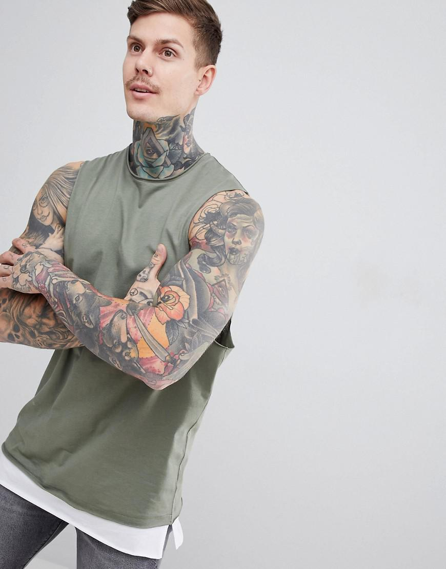 bfcf96bcc7b5a Lyst - ASOS Sleeveless T-shirt With Dropped Armhole And Contrast ...