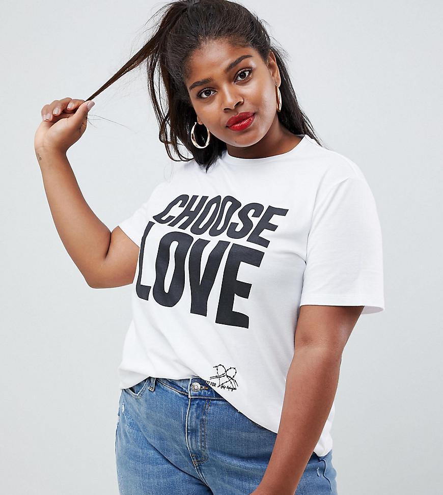 22d634b09 ASOS Help Refugees Choose Love Curve T-shirt In White Organic Cotton ...