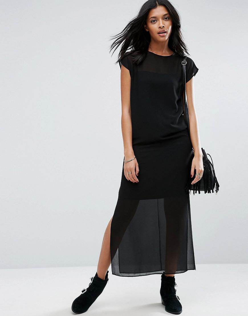 Asos Sheer T Shirt Maxi Dress With Side Splits In Black Lyst