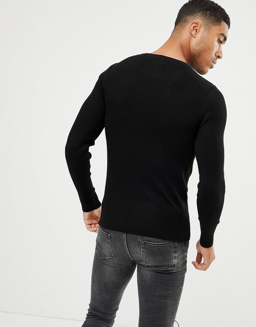 85cf3b5a9612 ASOS Muscle Fit Ribbed Jumper In Black in Black for Men - Lyst