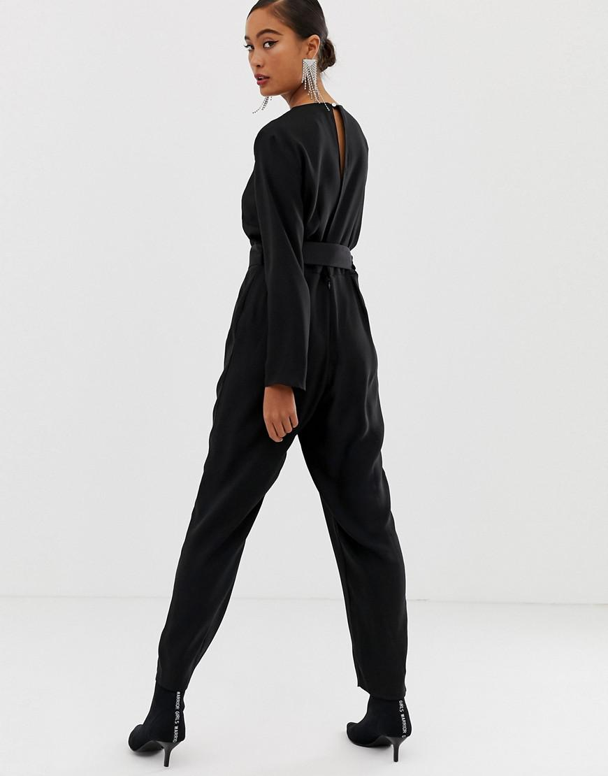 5ad4da404955 Lyst - Miss Selfridge Jumpsuit With Buckle Belt In Black in Black