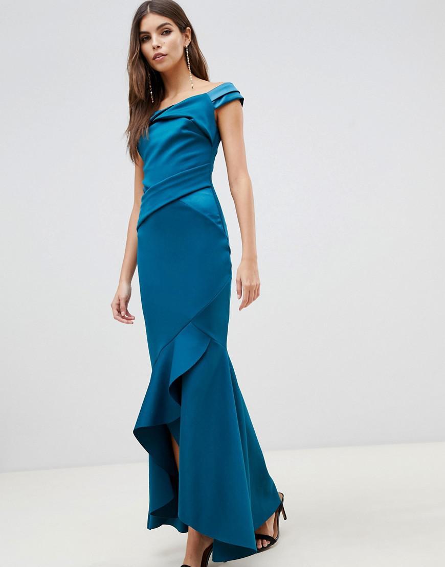 Lyst - Lipsy Bardot Satin Maxi Dress With Asymmetric Hem In Teal in ... 1c07ff1c2