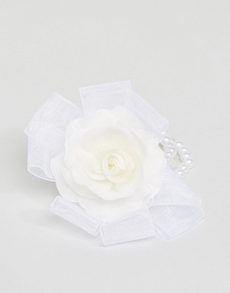 Lyst Asos Faux Pearl Flower Corsage Bracelet In White