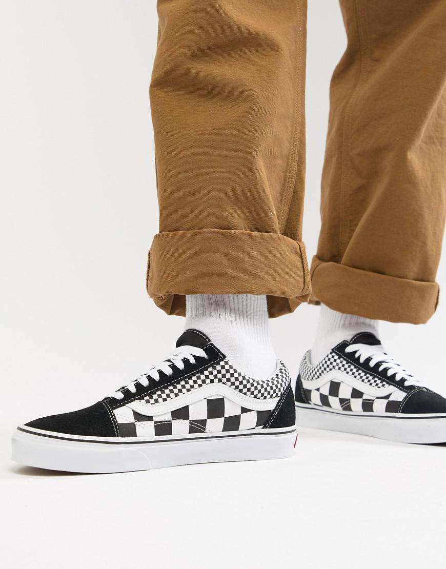 a79325e11a7 Vans Old Skool Checkerboard Sneakers In Black Vn0a38g1q9b1 in Black ...