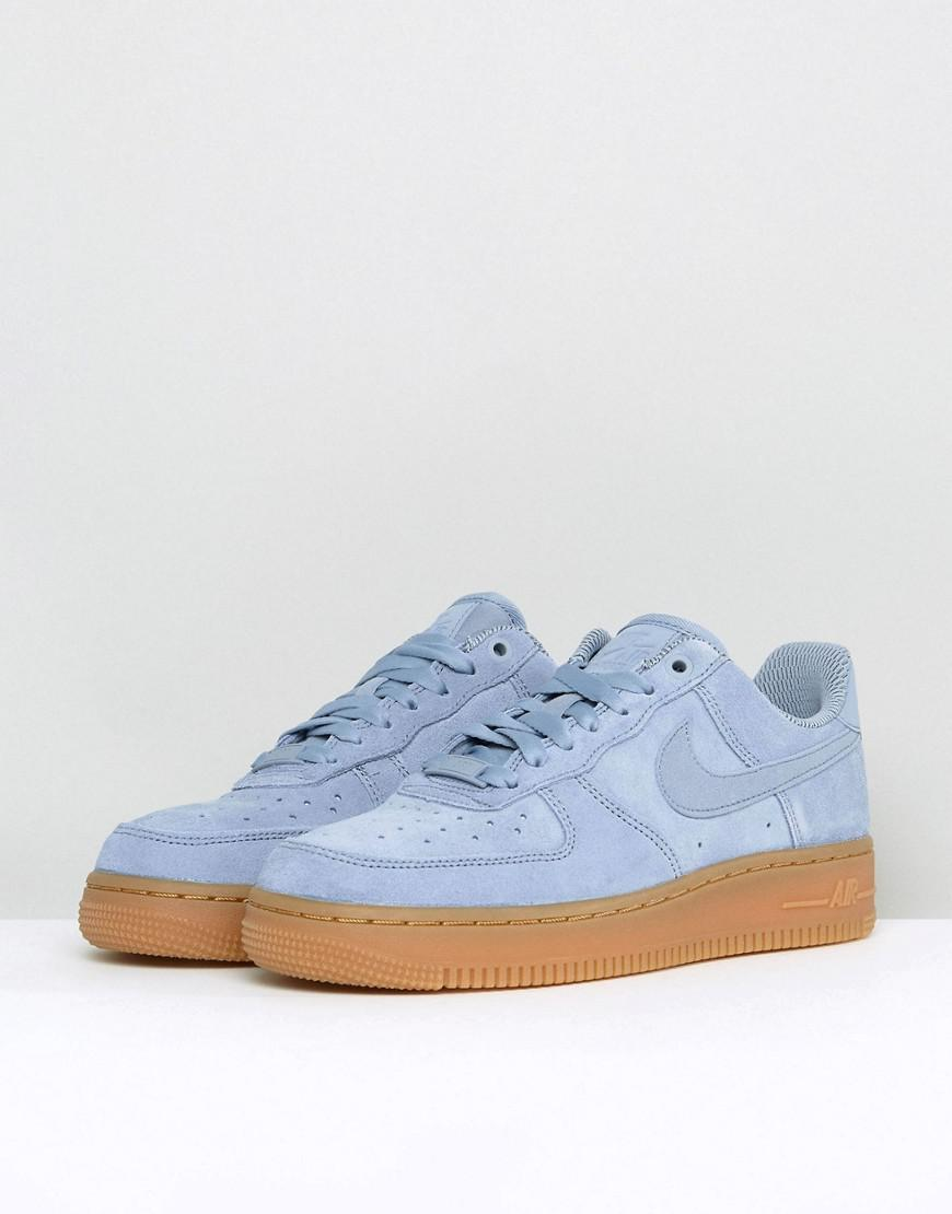 nike air force 1 07 trainers in glacier blue suede with gum sole