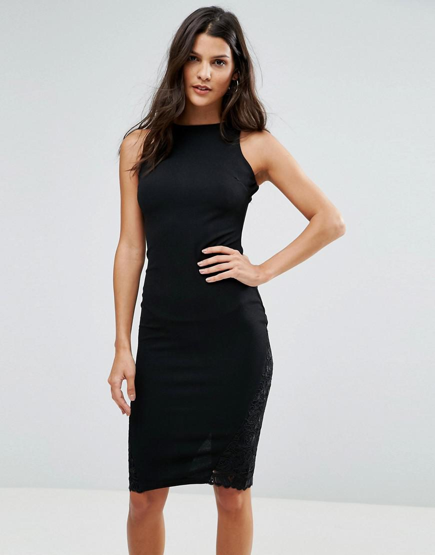 Pencil Dress With Lace Insert - Black AX PARIS hvpaovL5