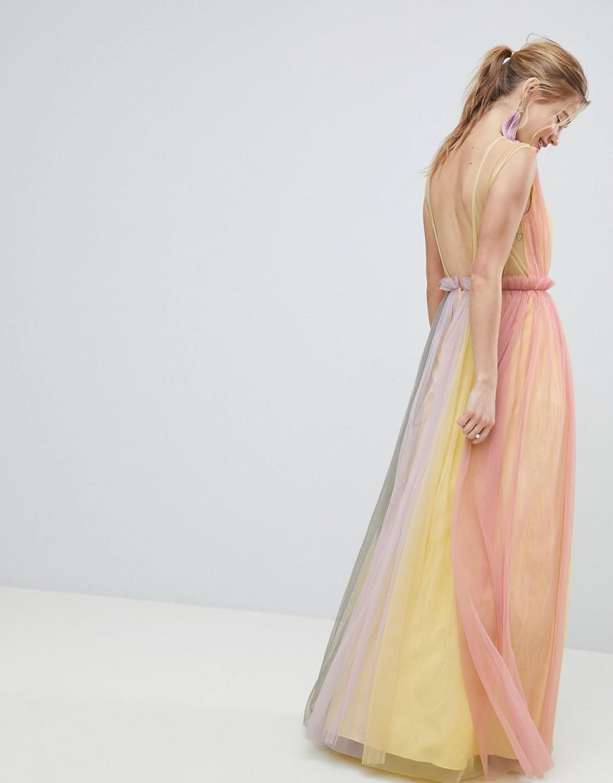 99cdd2b77ee ASOS Tulle Maxi Dress In Pastel Color Block - Lyst