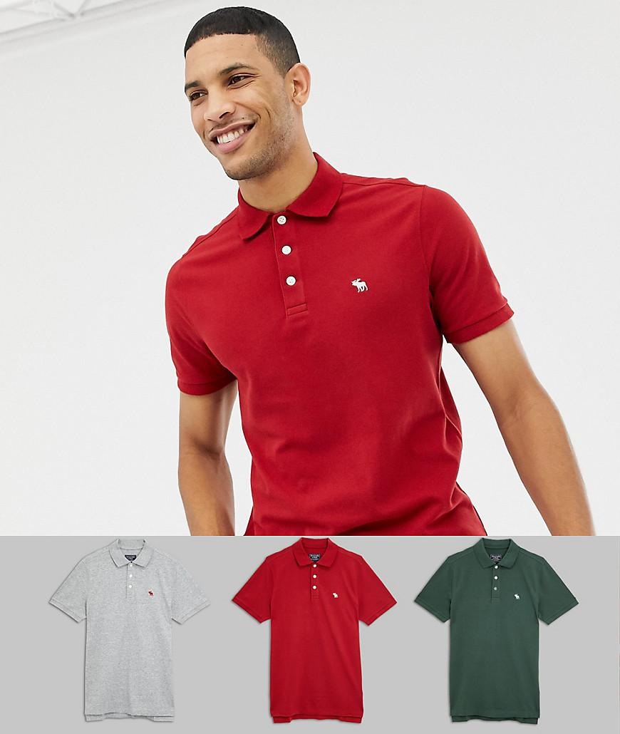 67bf0d497 Lyst - Abercrombie & Fitch 3 Pack Icon Logo Pique Polo Slim Fit In ...