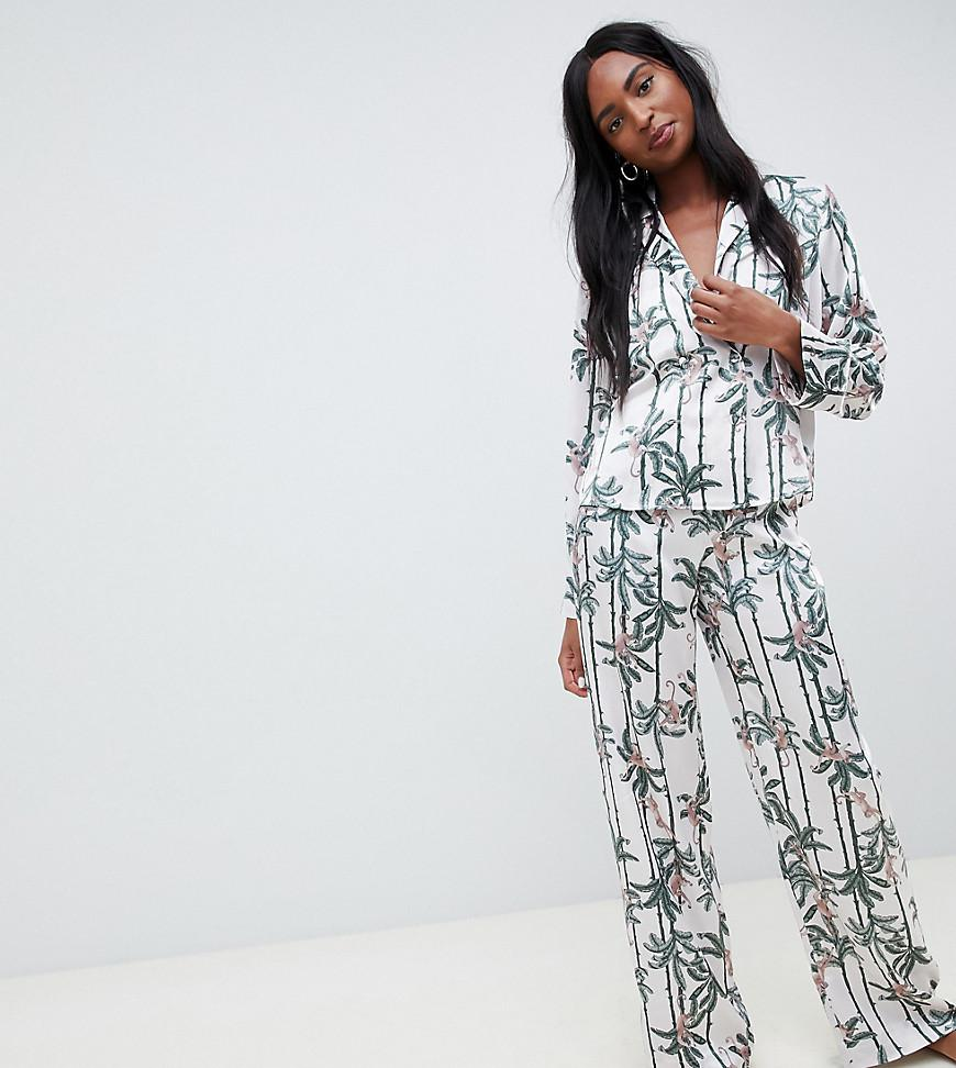 f0cddfadfe ASOS Asos Design Petite Monkey Print Double Breasted Shirt And Pants ...