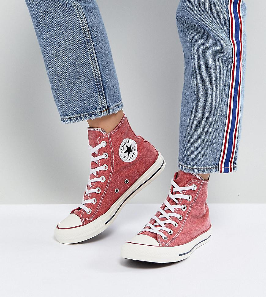 0925b38cd2f5 Converse Chuck Taylor All Star Hi Trainers In Stonewashed Red in Red ...