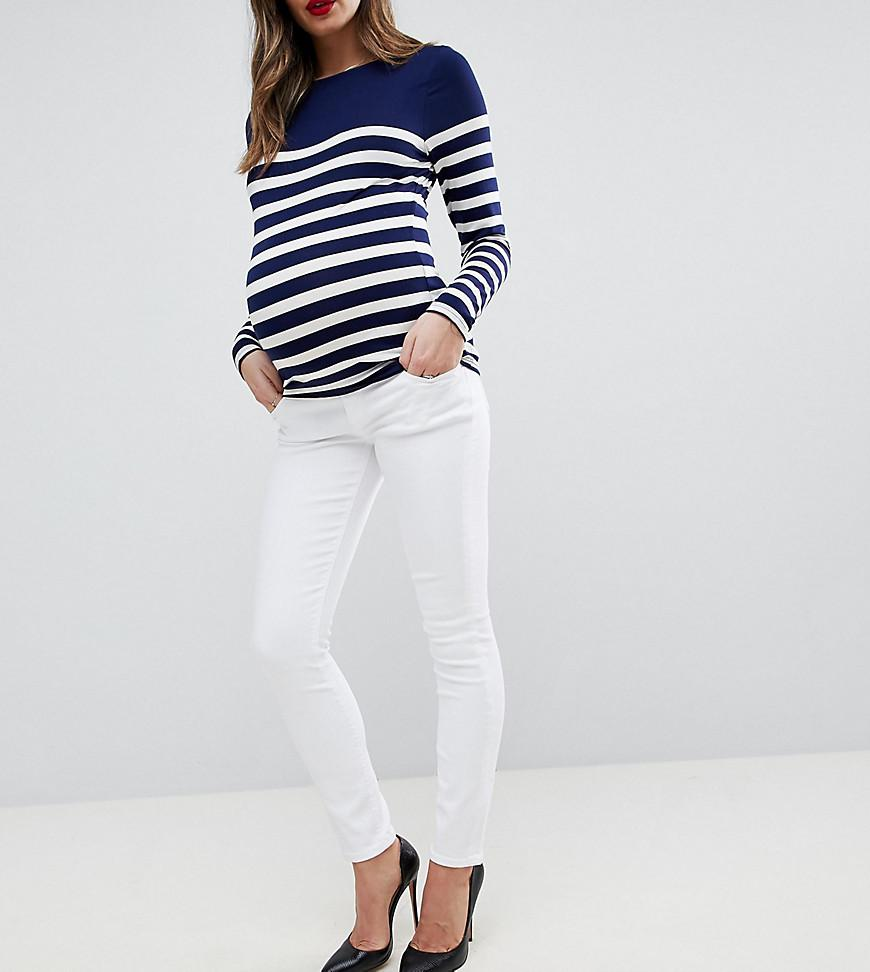311b034016f9c ASOS. Women's Asos Design Maternity Ridley High Waist Skinny Jeans In Optic  White With Under Bump Waistband
