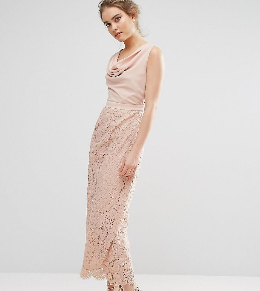 1f1893dccdd3 Oasis Premium Lace Cowl Neck Maxi Dress in Pink - Lyst