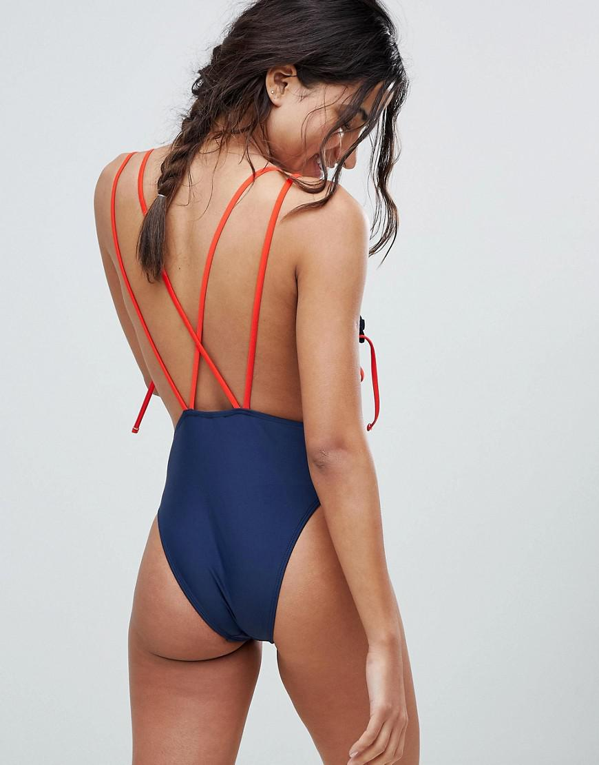 Lyst - Lost Ink Drawstring Swimsuit in Blue 19c920c0bf