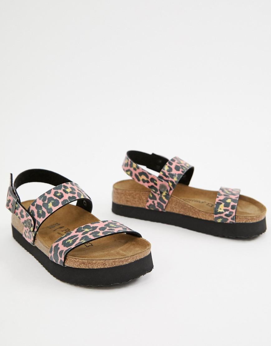 dceff40e820 Birkenstock Papillio By Leopard Slingback Flat Sandals in Brown - Lyst