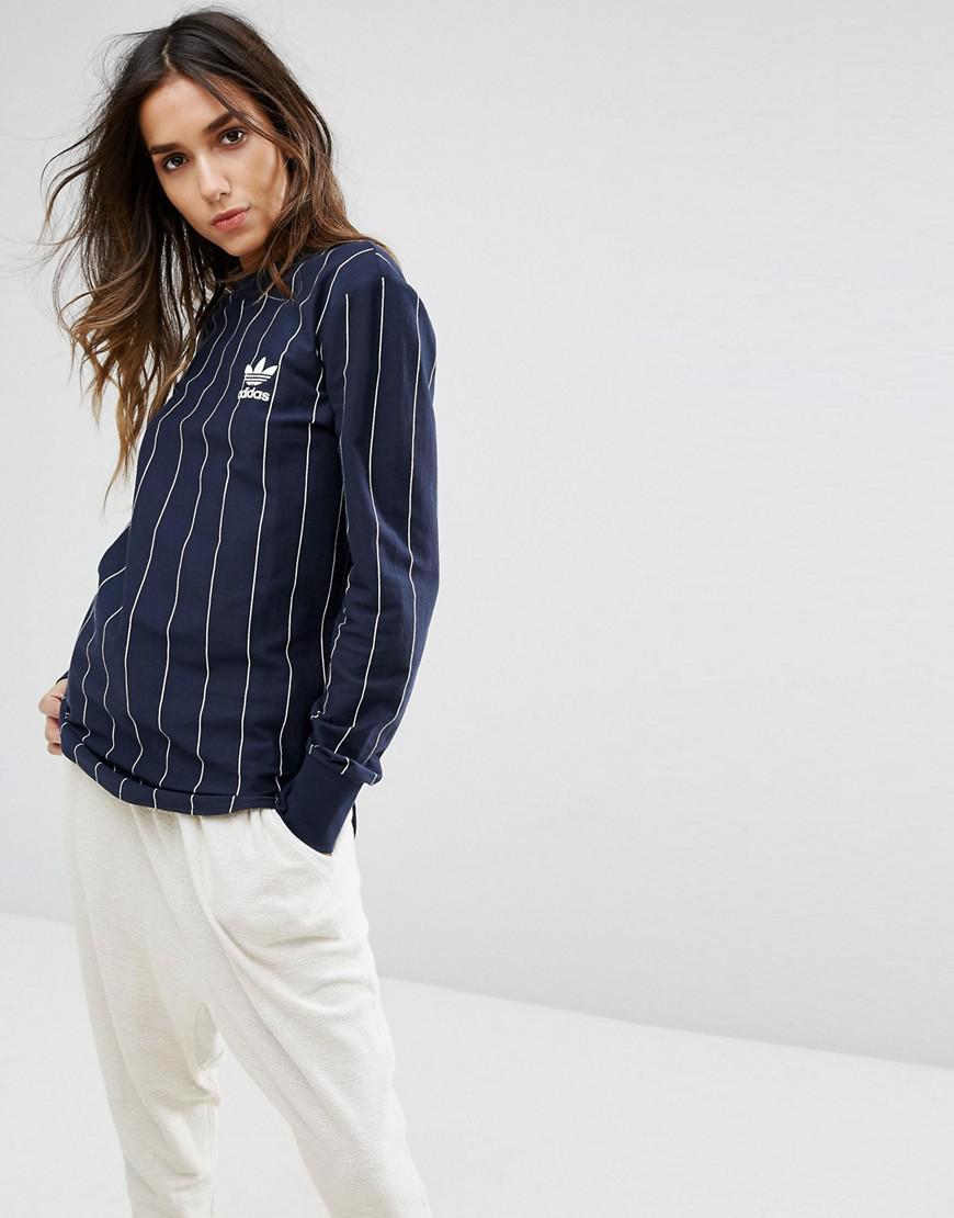 Lyst adidas Originals Tokyo Pinstripe Long Sleeve T Shirt in Blue