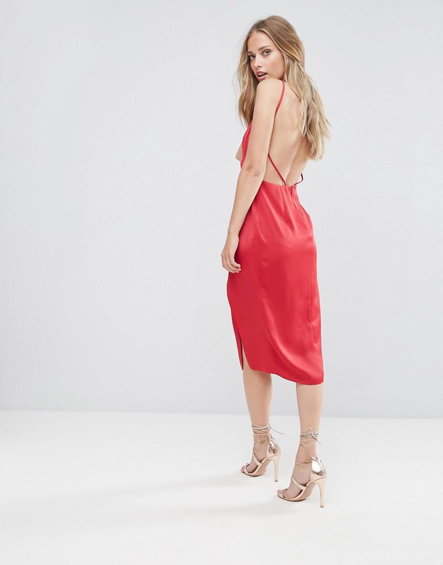 656425838d ASOS Asos Drape Back Delicate Backless Midi Dress in Red - Lyst