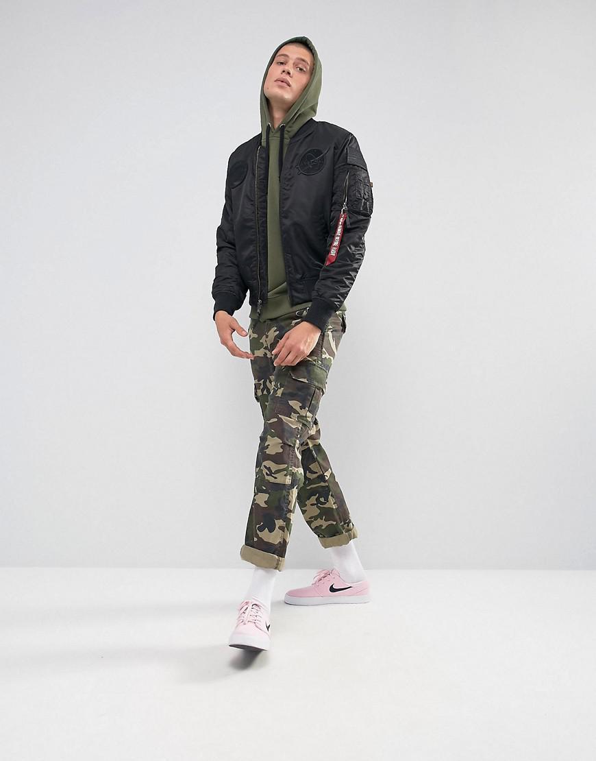 lyst alpha industries x fit hoodie sweatshirt in olive. Black Bedroom Furniture Sets. Home Design Ideas