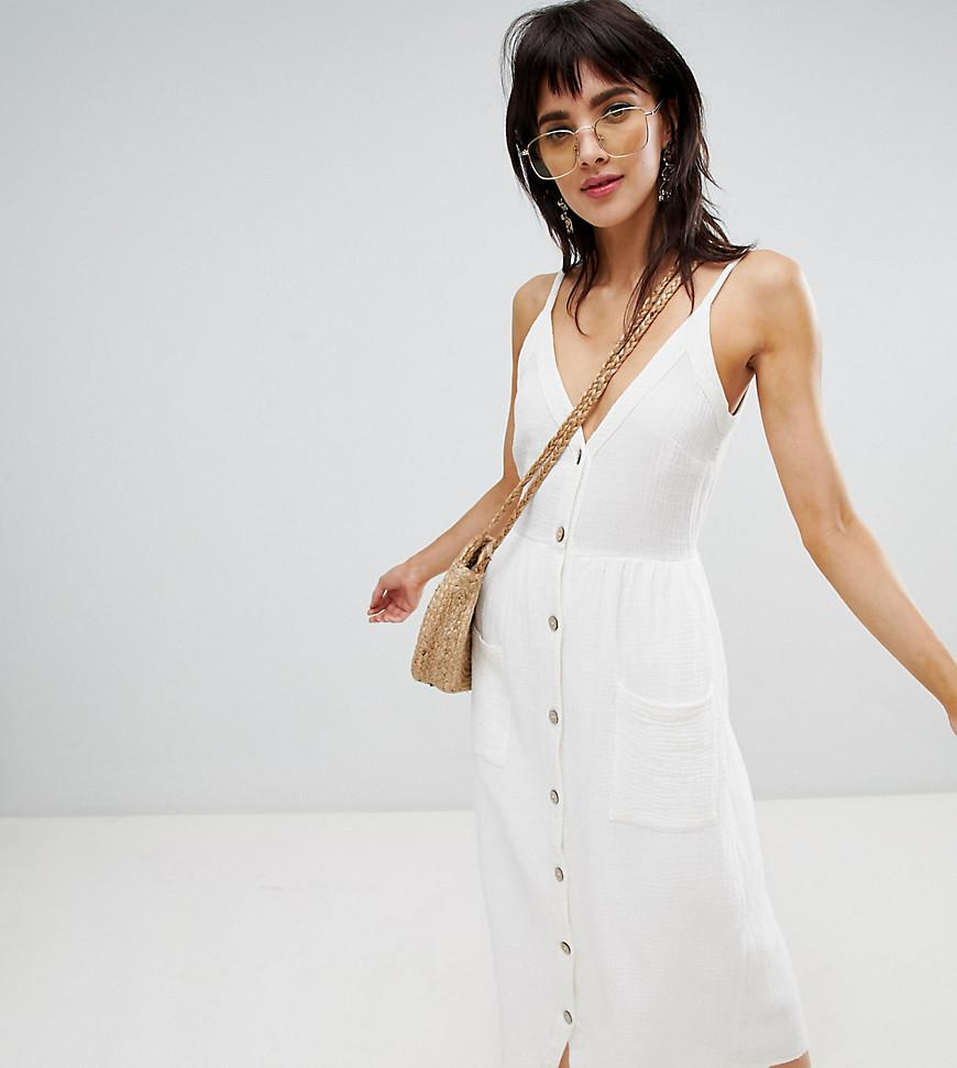 7a991fded6 Stradivarius Button Front Linen Cami Dress in White - Lyst