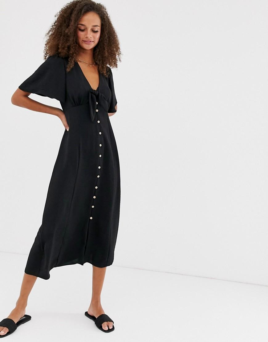 buy best discount sale outlet online New Look Tie Front Button Down Dress In Black in Black - Lyst