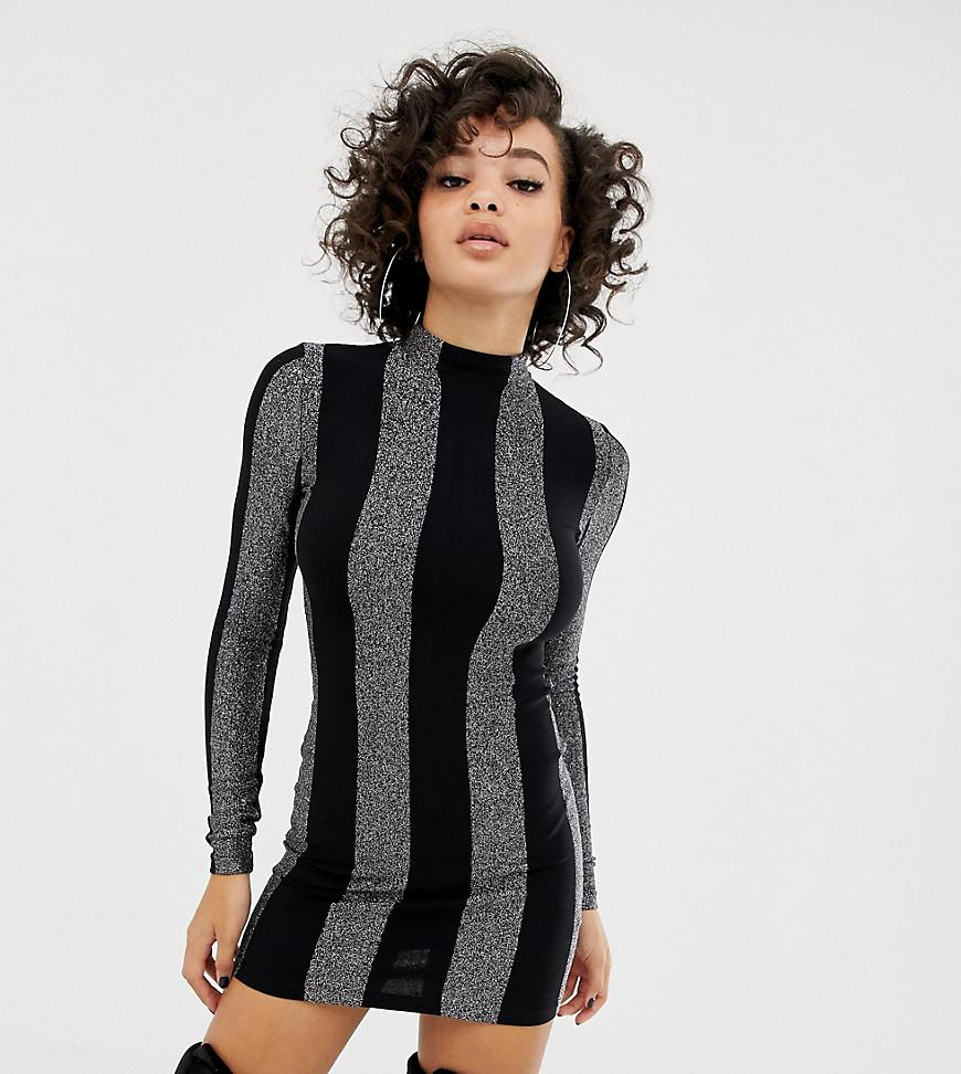 5b7d90f4bf Asos X Laquan Smith Bodycon Dress In Glitter Stripe in Black - Lyst