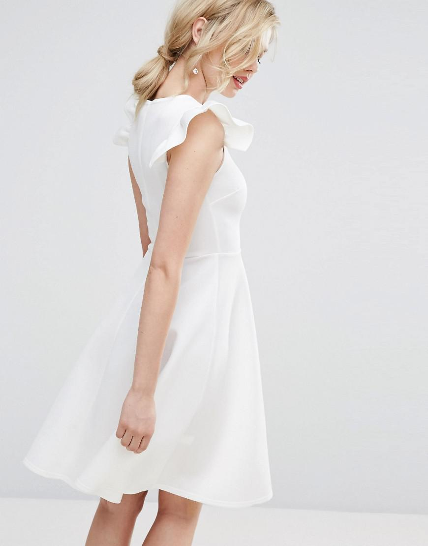 5ef744bf216 Lyst - Club L Frill Sleeve Pleat Detail Skater Dress in White