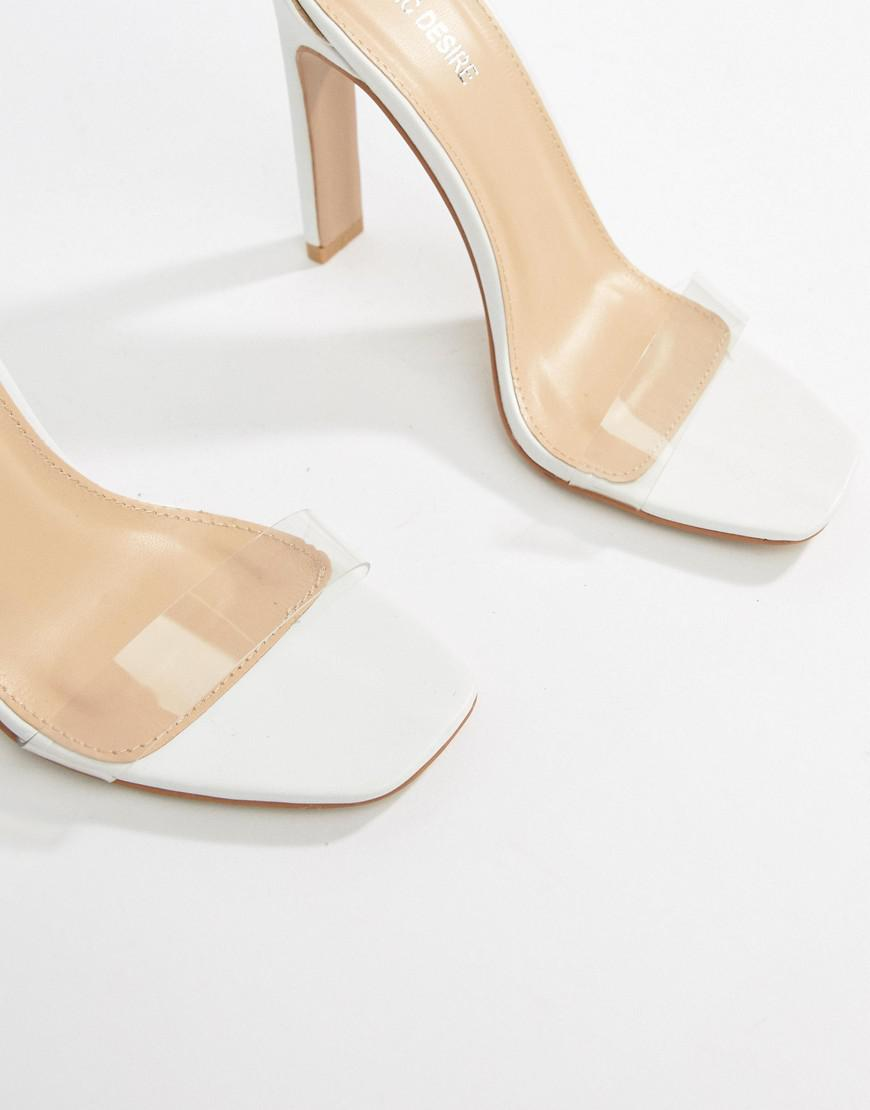 2904cbad3f5 Public Desire Tierra White Clear Strap Sandals in White - Lyst