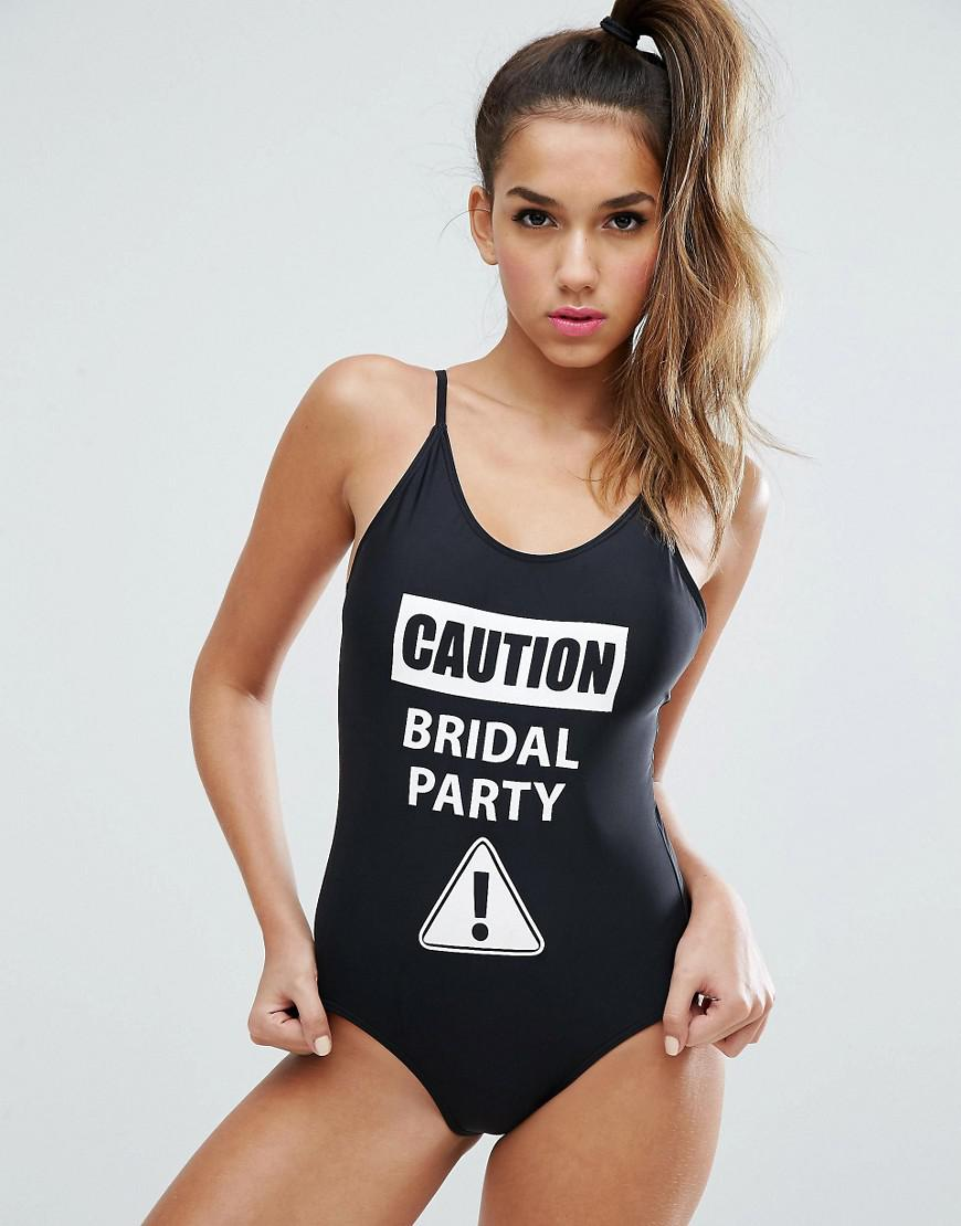 ff2ec4e55b074 Boohoo Caution Bridal Party Swimsuit in Black - Lyst