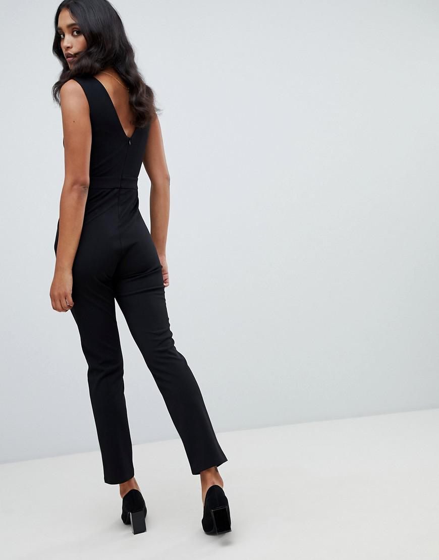 d4bcb62b72f Lyst - Lipsy V Neck Jumpsuit With Button Detail In Black in Black