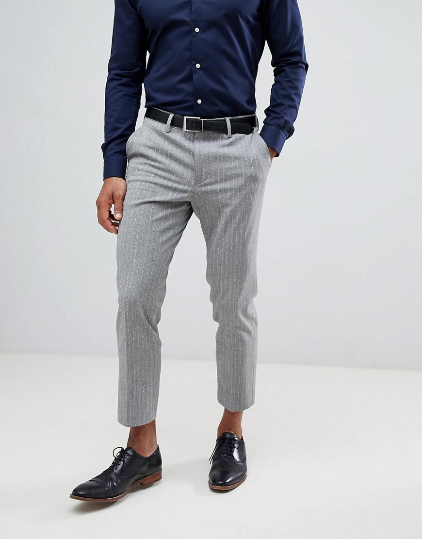 e1f17eb974b3 Lyst - ASOS Skinny Crop Smart Pants In Gray Pinstripe in Gray for Men