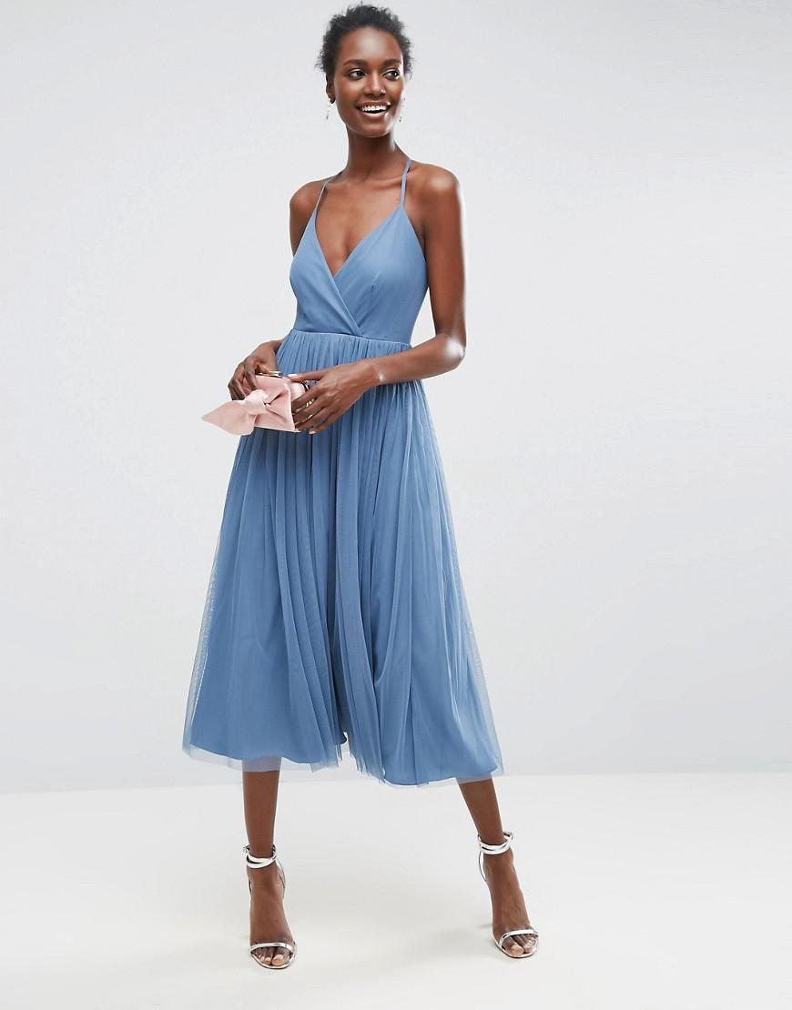 Lyst - Asos Pinny Extreme Tulle Mesh Midi Dress in Blue