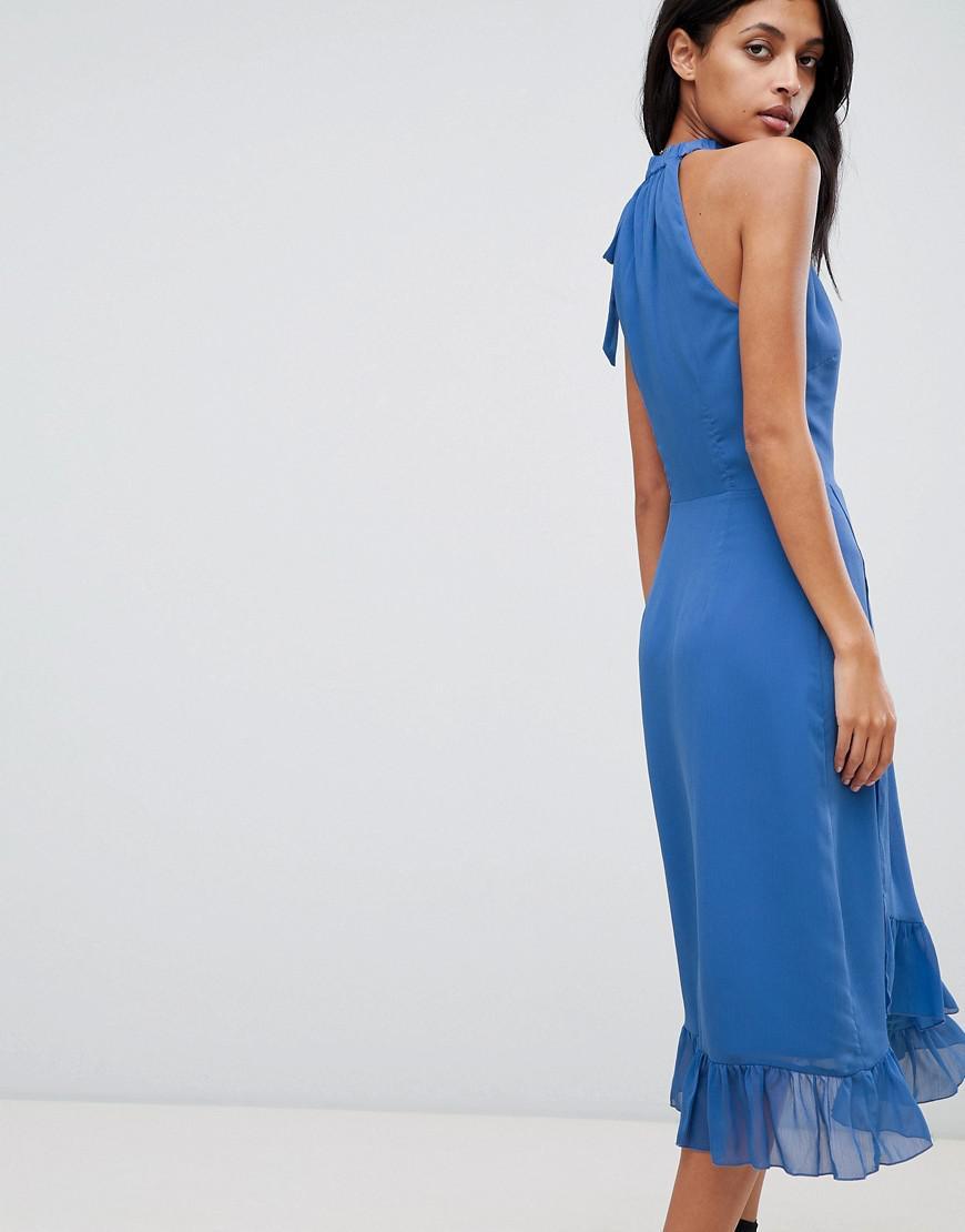 c15fdb4f55 Warehouse Frill Detail Halter Maxi Dress in Blue - Lyst