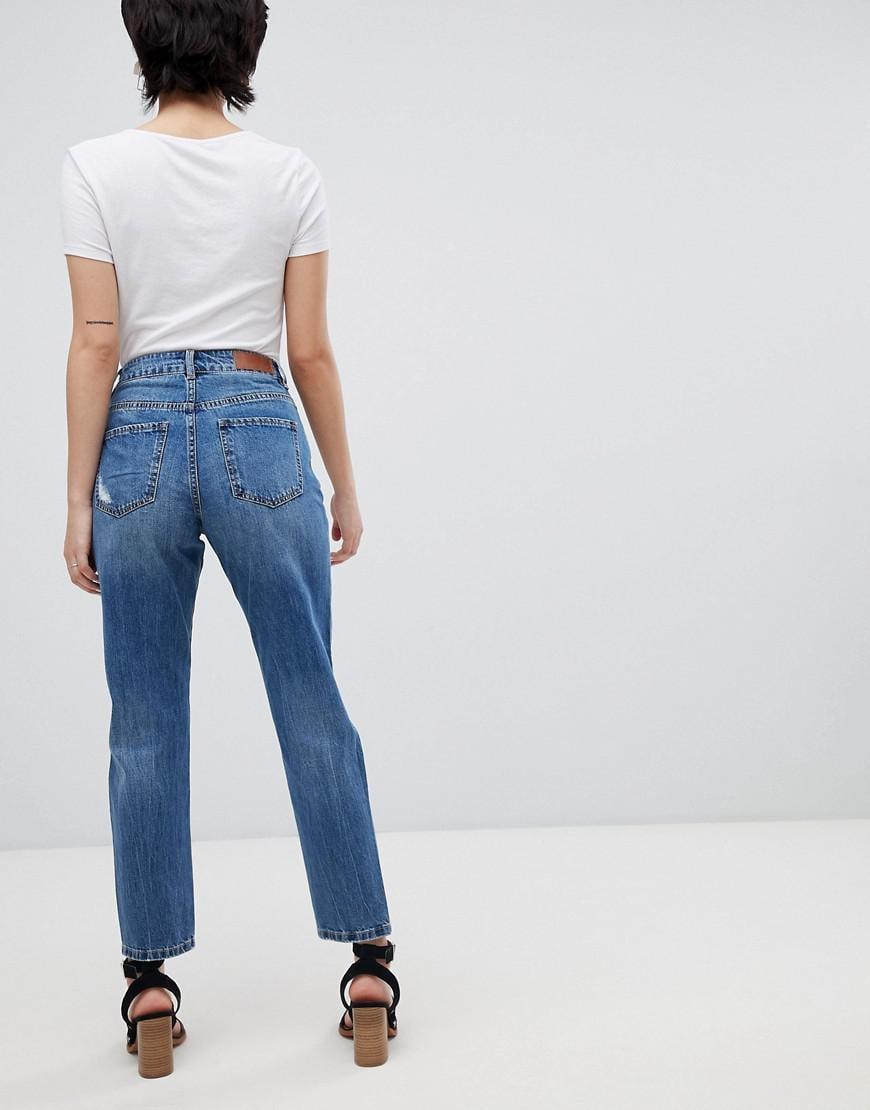 cc899b4d Lyst - Vero Moda Aware Distressed Denim Jeans in Blue