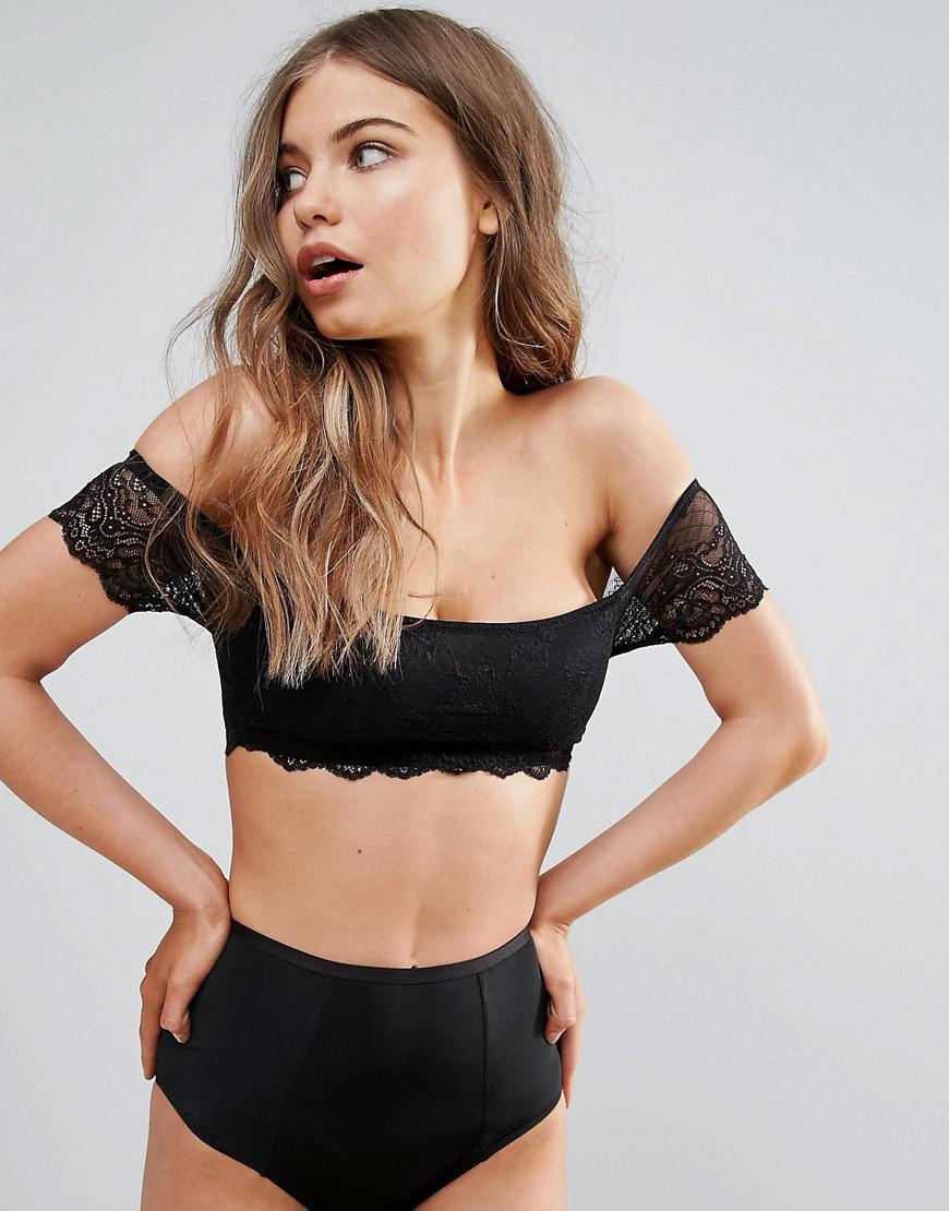 B-G Burgundy Lace Bardot Bralette - Burgandy Wolf & Whistle Discount Cheapest Official Really Cheap Shoes Online For Sale Wholesale Price RKBPJ